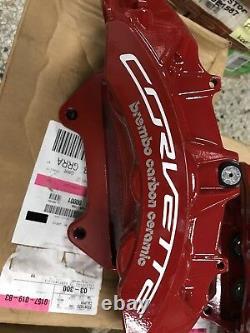 2016+ Corvette Z06 Front Red Brembo Carbon Ceramic GM Brake Calipers Rotors Pads