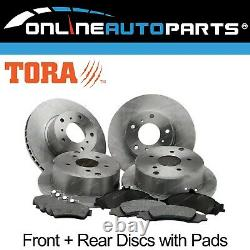 4 Front+Rear Disc Rotors Brake Pads Pack Commodore VT VX VY VZ 19972007 Holden