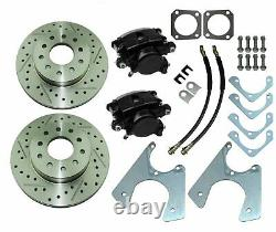 67-81 Staggered Rear End Axle Disc Brake Conversion Kit 10/12 Bolt Slotted Rotor