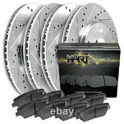 FRONT+REAR KITPlatinum Hart -DRILL & SLOT Brake Rotors +CERAMIC Pads- 2464
