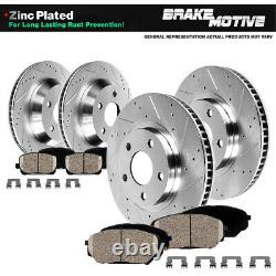 For 2005 2010 Ford Mustang S197 Front+Rear Drilled Brake Rotors & Ceramic Pads