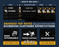 For Escalade Chevy Silverado Tahoe Front+Rear Drill Brake Rotors + Ceramic Pads