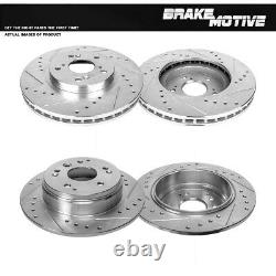 Front & Rear Drill And Slot Brake Rotors For 2004 2005 2006 2007 2008 Acura TL