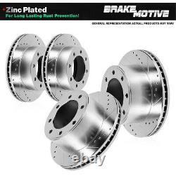 Front+Rear Drill And Slot Brake Rotors For 2005 2010 2011 2012 Ford F250 F350