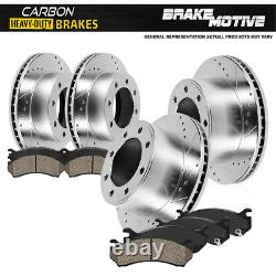 Front+Rear Drill Brake Rotors Carbon Ceramic Pads For Excursion Ford F-250 F-350