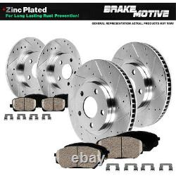 Front+Rear Drill Brake Rotors Ceramic Pad For 2011 2012 2013 2014 Honda Odyssey