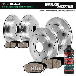Front+Rear Drill Brake Rotors + Ceramic Pads For 2004 2007 2008 Ford F-150 4WD