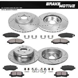 Front & Rear Drill Slot Brake Rotors And 8 Ceramic Pads For Acura MDX ZDX Pilot