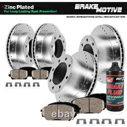 Front & Rear Drill Slot Brake Rotors And 8 Ceramic Pads For Ram 1500 2500 3500