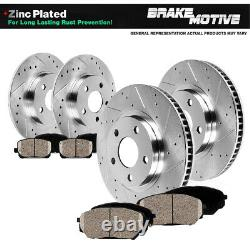 Front+Rear Drill Slot Brake Rotors And Ceramic Pads For 2005 2006 2007- 2009 A4