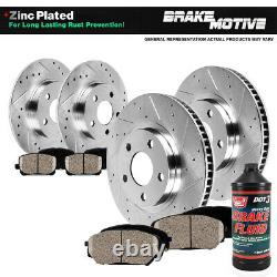 Front+Rear Drill Slot Brake Rotors + Ceramic Pads For 2004 2010 Toyota Sienna
