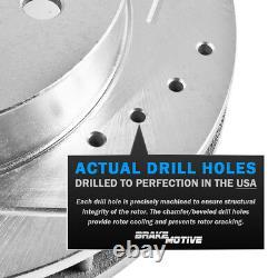 Front+Rear Drill Slot Brake Rotors & Ceramic Pads For 2005 2006 2010 Scion TC