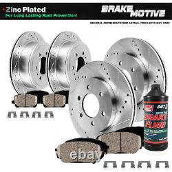 Front+Rear Drill Slot Brake Rotors Ceramic Pads For 2012 2013 2017 Ford F-150