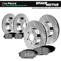 Front & Rear Drill Slot Brake Rotors Metallic Pads For Durango Ram 1500 2WD 4WD