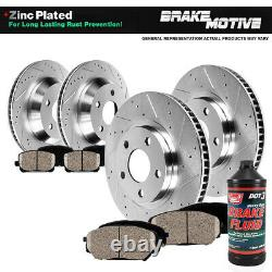 Front and Rear Drill Slot Brake Rotors and Ceramic Pads For Dodge Ram 1500