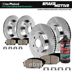 Front and Rear Drilled Slotted Brake Rotors Ceramic Pads For G35 350Z Brembo Pkg