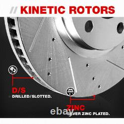 Front and Rear Drilled Slotted Brake Rotors and Ceramic Pads For Infiniti Nissan