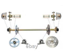 Go Kart Rear Axle Kit Brake Master Cylinder Disc Rotor Hub Drift Trike Cart ATV