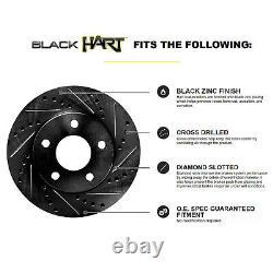 Hart Brakes Front Rear Black Drilled/Slotted Brake Rotors + Ceramic Brake Pads