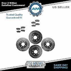 Rotor & Brake Pad Ceramic Performance Drilled Slotted Front Rear Kit