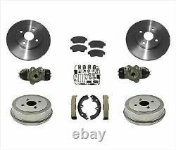 Convient 93-97 Corolla Prizm Disque De Frein Rotors Pads Tambours Chaussures Cylindres Ressorts 9p