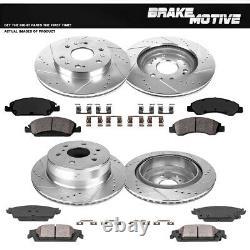 Rotors De Frein À Fente Avant+arrière +plaquettes En Céramique Pour Chevy Silverado Escalade