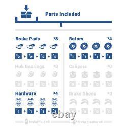 Rotors De Frein À Fente De Perceuse Avant + Arrière Et Coussinets En Céramique Pour Ford Explorer Flex Taurus