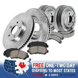 Rotors De Frein Avant + Pads Céramiques Tambours Arrière + Chaussures Pour Jeep Wrangler Cherokee